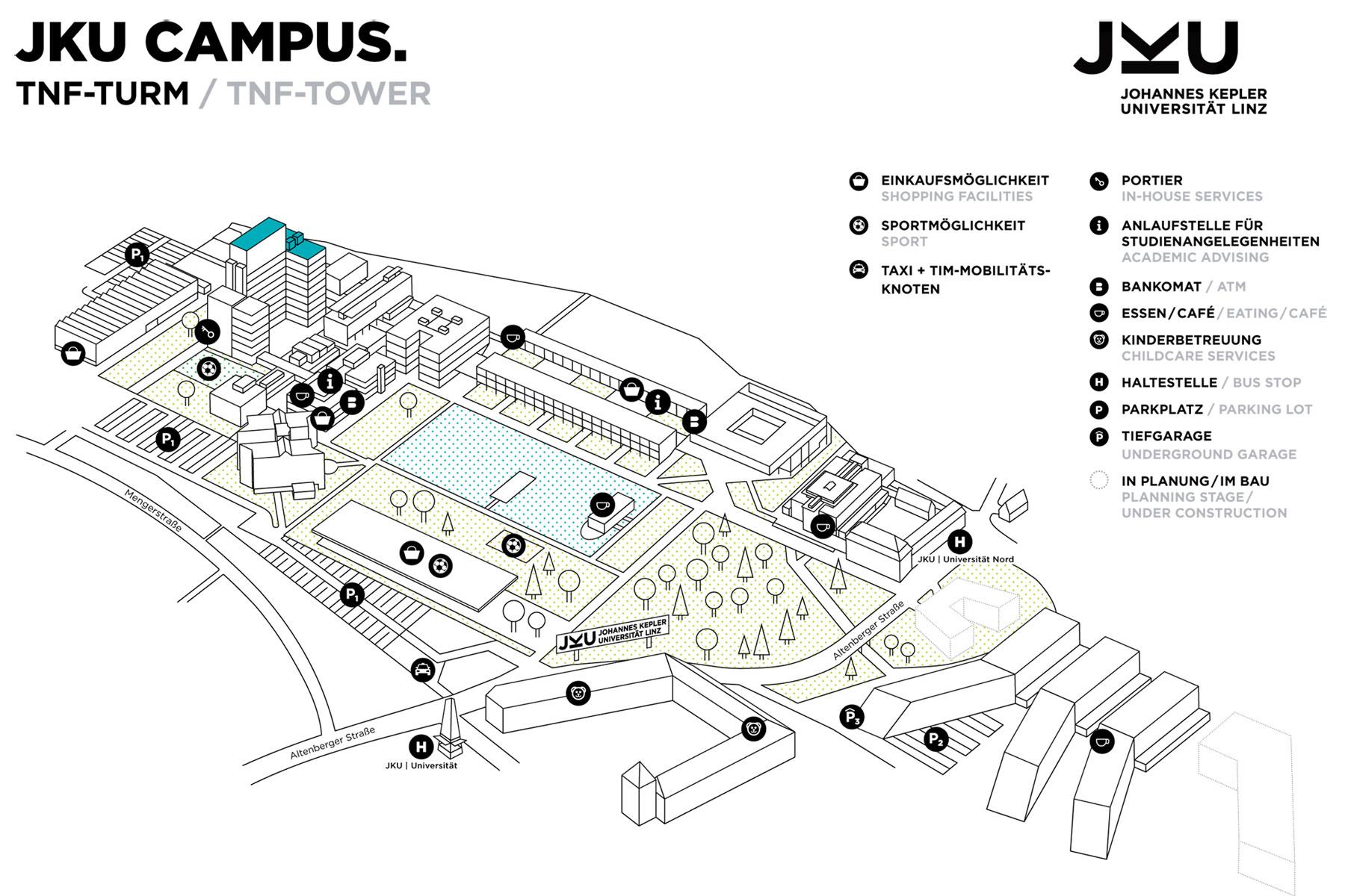 Lageplan JKU Open Lab im Erdgeschoss TNF-Turm